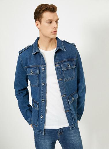 Koton Düğme Detaylı Jean Ceket Mavi